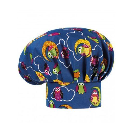 Kuchárska čiapka so sovím vzorom