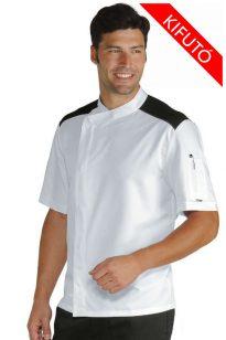 Biely kuchársky kabát s krátkym rukávom, patentom a sieťou na ramene