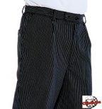 Čierne Chef nohavice s tenkými bielymi pruhmi