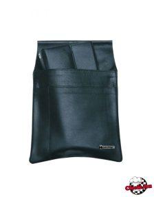 Čašnícke púzdro na peňaženku, čierne, kožené, s 3 vreckami