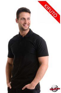 Čierne bavlnené tričko s golierom 180 g