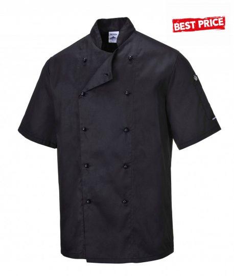 Kuchársky kabát  čierny s krátkym rukávom zapínanie na gombíky