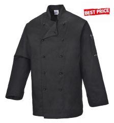 Kuchársky kabát čierny s dlhým rukávom
