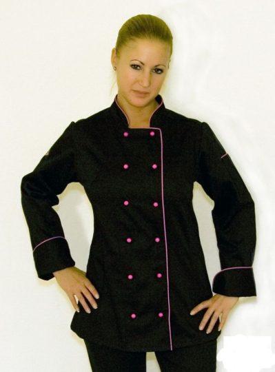 Dámsky kuchársky kabát čierny s dlhým, ružovým lemom