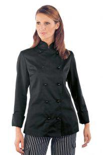 Dámsky čierny kuchársky kabát s dlhým rukávom