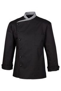 Čierny kuchársky kabát so zapínaním na patent 100% bavlnený